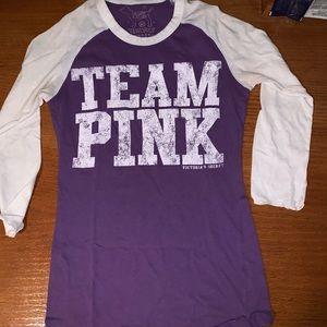 Team pink Victoria's Secret purple white top